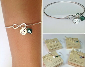 Free Shipping Set of 4 infinity bangles for bridesmaids, bridesmaids bracelets, bow bangles, personalized bangles.