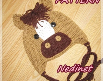 Pony Horse crochet hat  PATTERN Baby to Adult Size