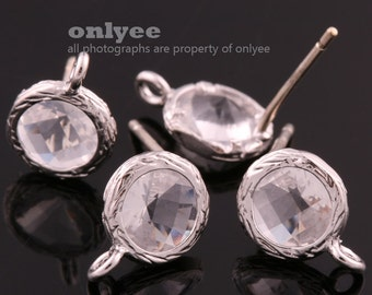 2pcs/1 pair-Rhodium plated faceted small round glass 925 sterling silver post earrings-Clear(M327S-B)