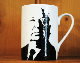 Alfred Hitchcock, The Birds, Psycho, North By Northwest, Rope, Rear Window, Vertigo, Strangers on a Train, Hand Printed, Hand Painted cup