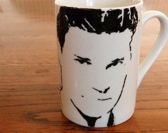 David Boreanaz, Angel, Bones, Buffy the vampire slayer, hand printed, hand painted, Cup