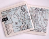 1960 La Paz Bolivia Handmade Vintage Map Coasters - Ceramic Tile Coasters set of 2 - Repurposed 1960s Atlas - OOAK Drink Coasters