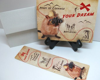Gift Set, Funny Gerbil Inspirational Card & Bookmark: Dream Map