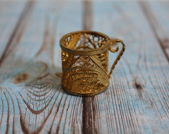 SALE 50 OFF Vintage Filigree Miniature Cup Gold Metal Home Decor Collectible