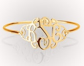 "Monogram Bracelet , 1.25"" Gold Plated Over Silver"