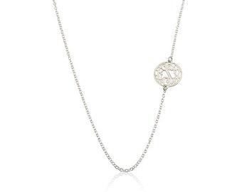 Monogram necklace - Tiny Sideways Monogram Necklace 0.6 Inch - Silver Personalized Necklace