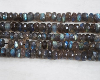 Natural Labradorite Rondelle Shape Micro faceted Bead