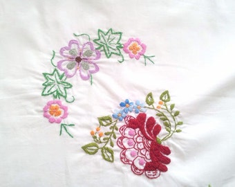 Embroidered tablecloth, embroidery tablecloth, square tablecloth, floral tablecloth, vintage tablecloth, cottage chic, cottage tablecloth
