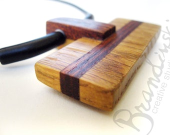 Wooden Jewelry Necklace - made by cherry wood, oak, mahogany ceramic tubes , 3mm leather cord