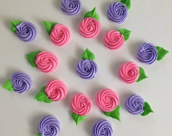 Royal Icing Rosettes Hot Pink or Purple (25)