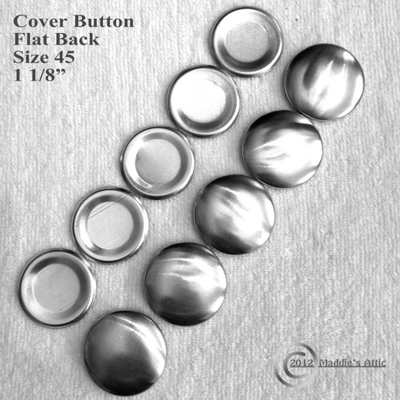 25 Flat Back Cover Buttons - Size 45 (1 1/8 inch) - Choose Your Options - Assembly Tool