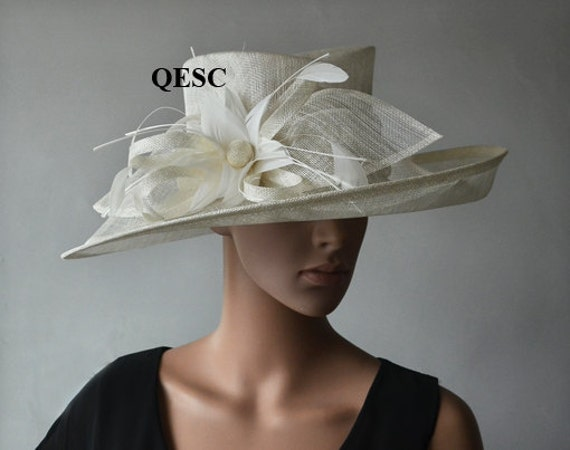 Can You Wear Cream To A Wedding: Ivory Sinamay Hat Large Dress Church Hat Fascinator With