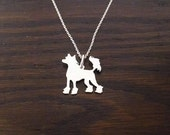Sterling silver chinese crested silhouette pendant  25mm  with chain options