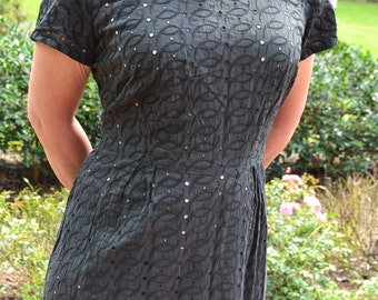 Vintage dress black Eyelet wiggle day dress 1960s cotton little black dress Astronaut Wives Mad Men