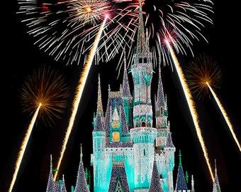 Disney Cinderella Castle Fireworks Digital Photograph Print Fine Art Home Decor Wall Art