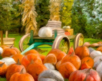 Pumpkins At Pumpkin Farm Cart Canvas Print Fine Art Digital Painting Home Decor Wall Art