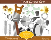 Tools Workshop Hammer Saw Screws Gearwheels Discs 20 ClipArt Images for cards, scrapbooking  - instant download - CU OK
