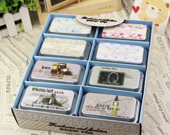 24 Cases Freshness and Fashion Stamp Pad Set - Tin Box packed Rubber Stamp Ink Pad - Stamp Ink - 4 colors in