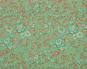 Vintage Jersey Knit Fabric Mint Green Small Floral Pattern Retro Stretchy 2 yards plus