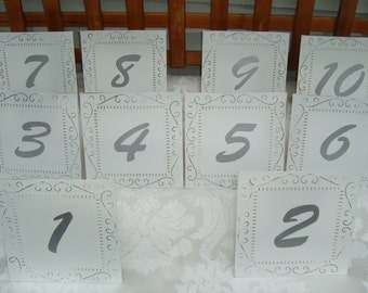 DominionDesign , Custom, Classy White Wedding Tin Ceiling Tile Table Numbers - Cottage / Garden Chic [Furn]