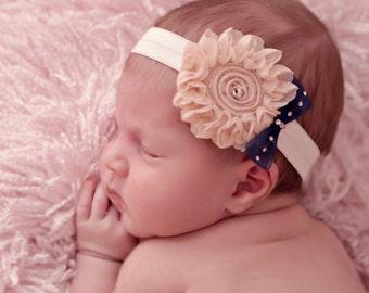 Flower Baby Headband, Swarovski Baby Headband, Soft Headband, Elastic Headband, Headband, Bow Headband, Baby Girl, Photo Prop