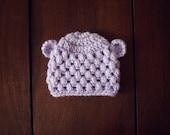crochet baby bear beanie in lavender