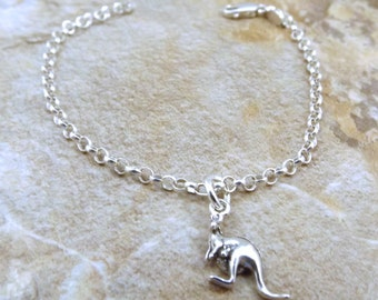 Sterling Silver Mini Kangaroo Charm on a Sterling Silver Rolo Bracelet - 0780