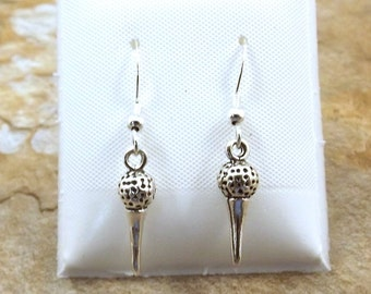 Sterling Silver Golf Ball on Tee Dangle Earrings on Sterling Silver French Hooks-0738