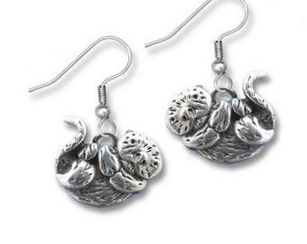 Pewter Sea Otter Earrings