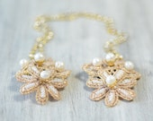 Gold Flowers Freshwater Pearls Forehead Chain, Bridal Lace Headpiece, Draping Rhinestone Hairpiece, Bridal Hair Jewelry