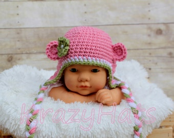 Crochet Monkey hat with flower.Made to order.