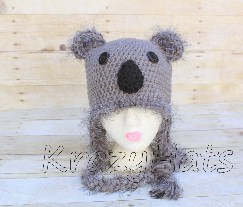 Crochet koala hat.Koala hat.