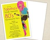 DIY Printable 80's Glam Bachelorette Party Invitation