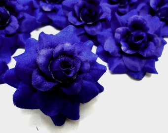 24 Blue Metallic mini Roses Heads - Artificial Silk Flower - 1.75 inches - Wholesale Lot - for Wedding Work, Make Hair clips, headbands