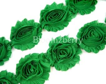 "2.5"" Shabby Rose Trim - Emerald Color - Emerald Green Chiffon Trim - Emearld Shabby Rose Trim -Hair Accessories  Supplies"