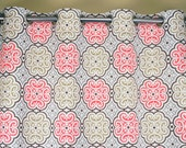Brown Taupe Coral Gray White Nyle Floral Damask Trellis Curtains - Grommet - 84 96 108 or 120 Long by 25 or 50 Wide Optional Blackout Lining