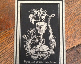 antique black and silver catholic holy card