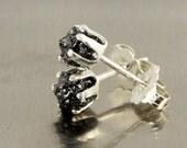 Rough Diamond Post Earrings in Silver - Large Ear Studs, 3.5mm - Raw Uncut Diamonds - Jet Black Diamonds - Birthstone