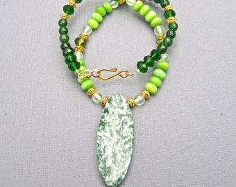 Bold Chunky Statement Necklace, Green Garnet, Peridot and Jade Gemstones   364