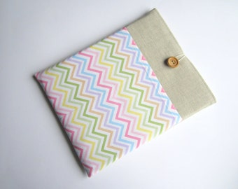 Zig Zag iPad sleeve, linen iPad sleeve, iPad case, iPad cover, handmade iPad sleeve, iPad smart cover