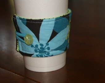 Modern Floral Reusable Coffee Sleeve, Chocolate Brown, Teal, Green, Coffee Cozy, Stocking Stuffer, Secret Santa, Teacher Gift, Gift Under 20