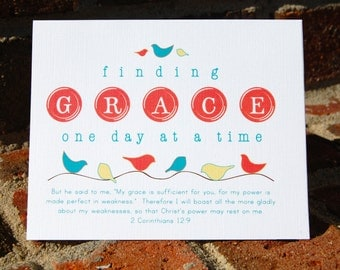 Finding Grace with 2 Corinthians 12:9 and Birdies note card set . 6 folded cards (4x5) with envelopes
