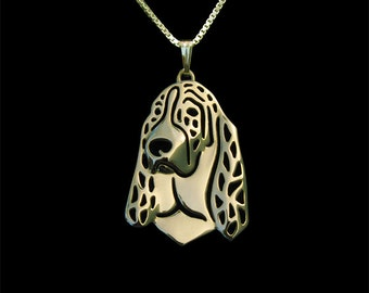 Basset hound - Gold pendant and necklace.