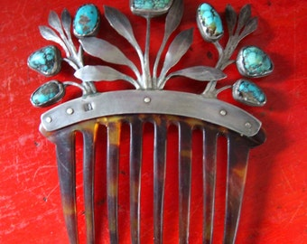 Antique Silver Spiderweb Turquoise Abstract Design Tortoiseshell Haircomb Hairpin Hairslide