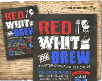 4th of july invitation - chalkboard bbq invitation for fourth of july barbecue party -  4th of july invite - DIY printable invitation