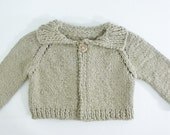 Taupe knitted organic cotton baby sweater 6 - 12 month size