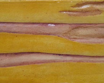 "Original Contemporary Abstract Mixed Media Painting on Wood Block 2.5""x5.5"" Yellow, Pink, Purple"