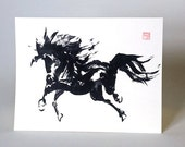 Wild Horse Art A2 Blank Cards Set of 8 From Original Chinese Ink Painting