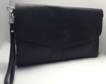Black Leather  - Clutch  - Cross Body - Wristlet - Soft  Italian Leather Handbag Accessorie