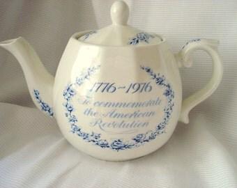 Vintage Blue Transferware Teapot Wood and Sons Tea Pot London Tea Company England Bicentennial American Revolution